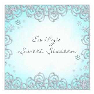 Winter Wonderland Swirl Snowflakes Sweet 16 5.25x5.25 Square Paper Invitation Card