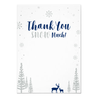 Winter wonderland thank you card - Navy & Silver