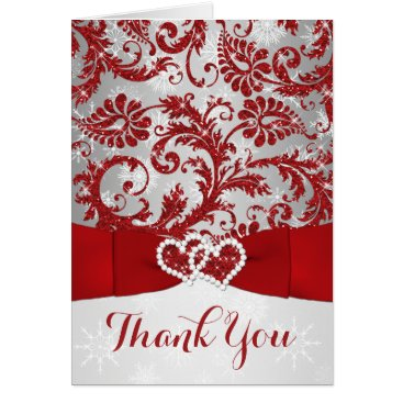 Winter Wonderland Thank You Note Card - Red