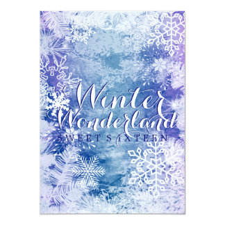 "Winter Wonderland Theme Sweet Sixteen Birthday 5"" X 7"" Invitation Card"