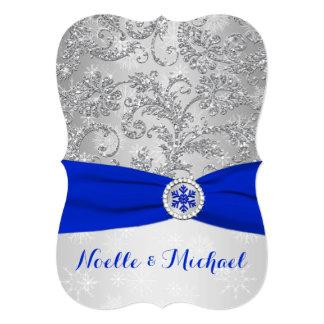 Winter Wonderland Wedding, Crystal Buckle, Blue 2 Invitation