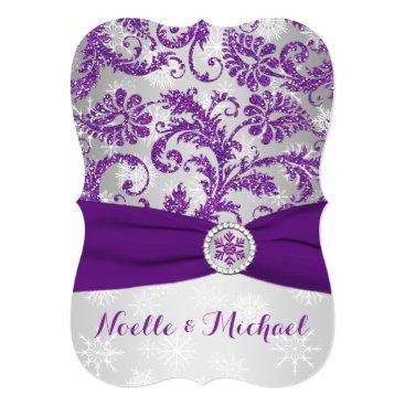 Winter Wonderland Wedding, Crystal Buckle Purple 2 Invite