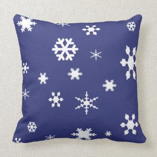 Winter Wonderland-White Snowflakes on Blue Throw Pillow