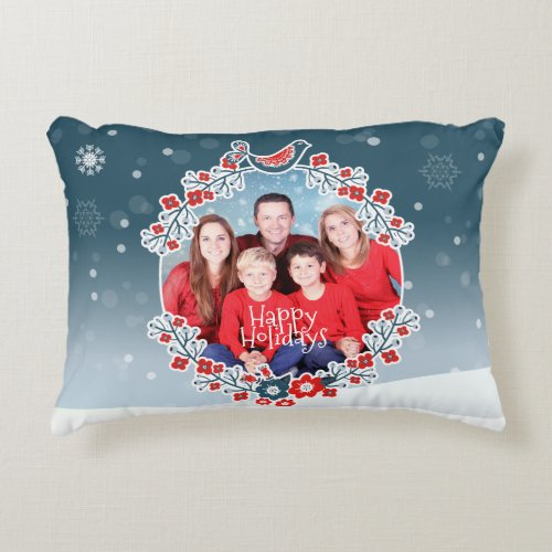 Winter Wonderland Your Photo Christmas Wreath Accent Pillow