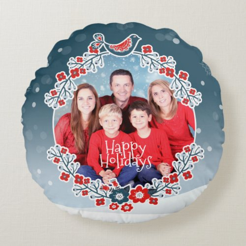 Winter Wonderland Your Photo Christmas Wreath Round Pillow