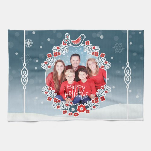 Winter Wonderland Your Photo Christmas Wreath Snow Hand Towel