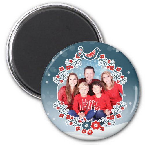 Winter Wonderland Your Photo Christmas Wreath Snow Magnet