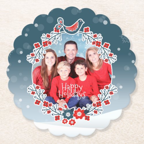 Winter Wonderland Your Photo Christmas Wreath Snow Paper Coaster