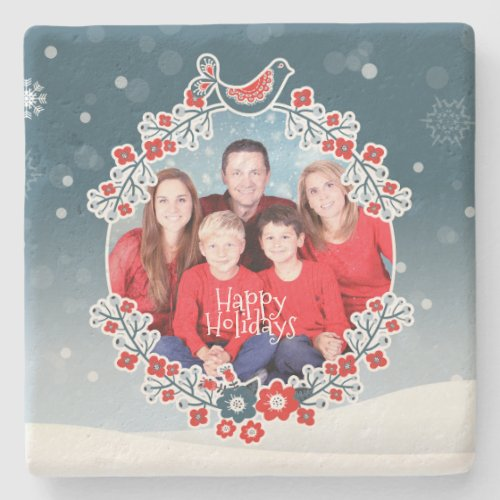 Winter Wonderland Your Photo Christmas Wreath Snow Stone Coaster