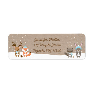 Winter Woodland Animal Baby Shower Address Label
