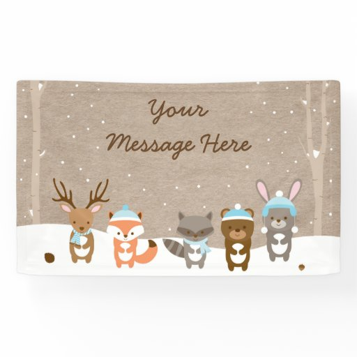 Winter Woodland Animal Baby Shower Banner