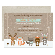 Winter Woodland Animal Baby Shower Card
