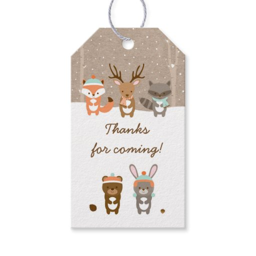 Winter Woodland Animal Baby Shower Gift Tags