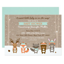 Winter Woodland Animal Baby Shower Invitations