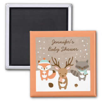 Winter Woodland Animal Baby Shower Magnet