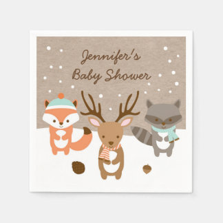 Winter Woodland Animal Baby Shower Paper Napkin