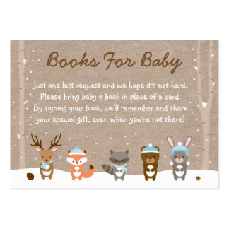 Winter Woodland Animal Book Request Cards Blue