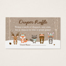 Winter Woodland Animal Diaper Raffle Tickets