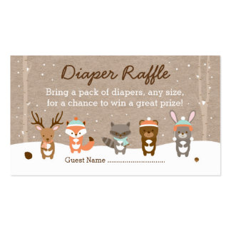 Winter Woodland Animal Diaper Raffle Tickets Double-Sided Standard Business Cards (Pack Of 100)