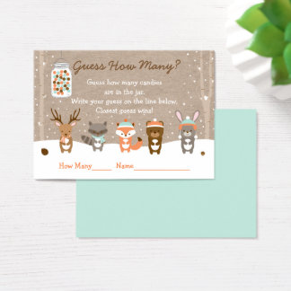 Winter Woodland Animal Guess How Many Game Business Card