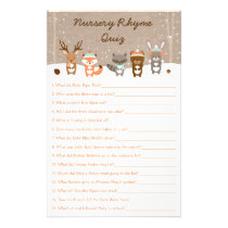 Winter Woodland Animal Nursery Rhyme Game Flyer