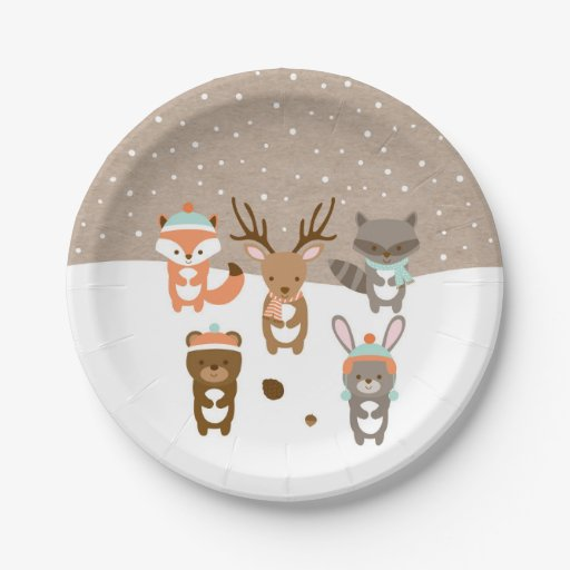 Winter Woodland Animal Paper Plates