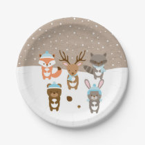 Winter Woodland Animal Paper Plates Blue