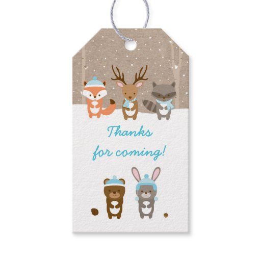 Winter Woodland Animal Party Favor Tags Blue