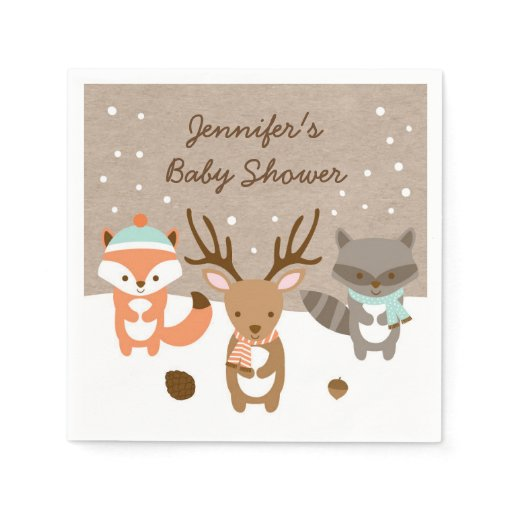 Winter Woodland Animal Personalized Napkins