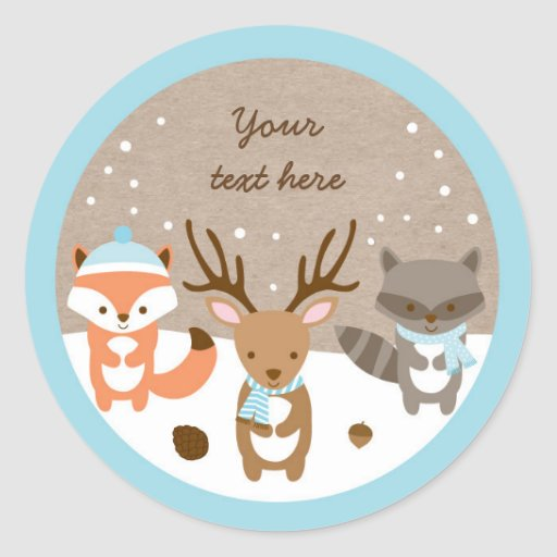 Winter Woodland Animal Stickers Blue