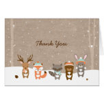 Winter Woodland Animal Thank You Cards