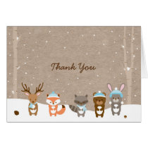 Winter Woodland Animal Thank You Cards Blue