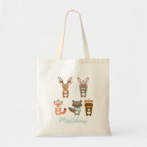 Winter Woodland Animal Tote Bag