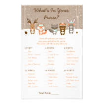 Winter Woodland Animal What's In Your Purse Game Flyer