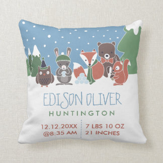 Winter Woodland Animals Baby Birth Stats Throw Pillow