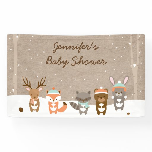 Winter Woodland Animals Baby Shower Banner