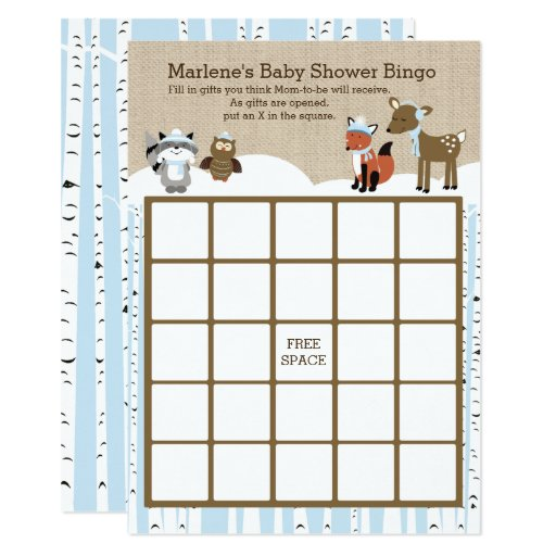 Winter Woodland Animals Baby Shower Bingo Blue Card