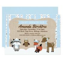 Winter Woodland Animals Baby Shower Invite | Blue