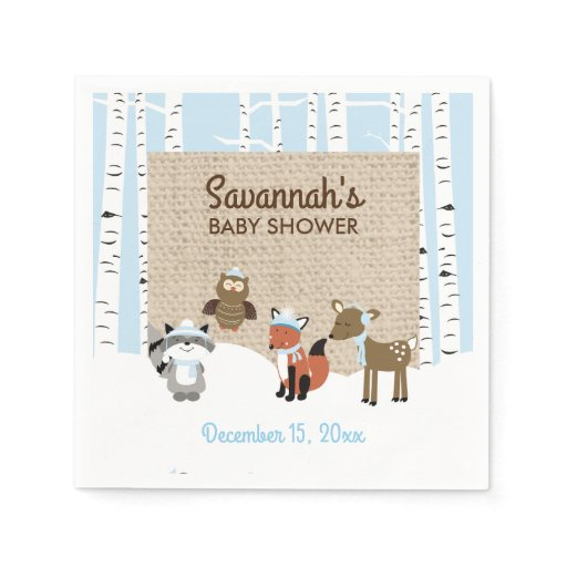 Winter Woodland Animals Birch Tree Napkin | Blue
