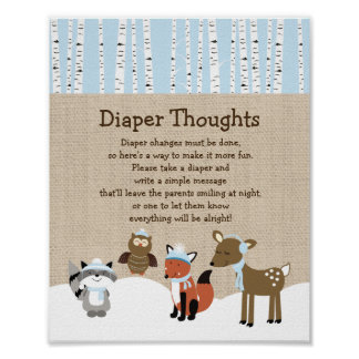 Winter Woodland Animals Diaper Thoughts Game Poster
