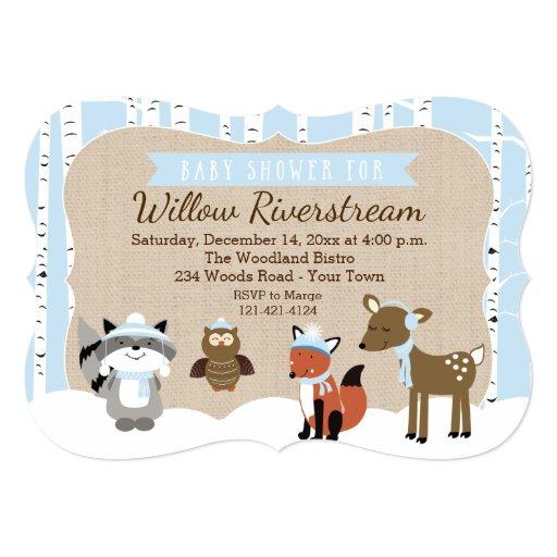 Winter Woodland Animals Die Cut Shower Invite Blue