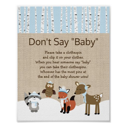 Winter Woodland Animals Don't Say Baby Game Poster