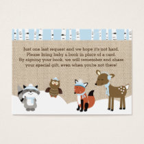Winter Woodland Animals Enclosure Book Request Business Card