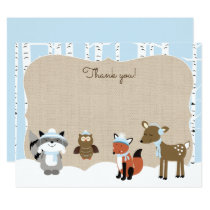 Winter Woodland Animals Flat Thank you notes Card
