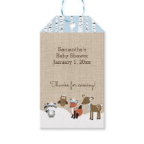 Winter Woodland Animals Gift Tags Blue