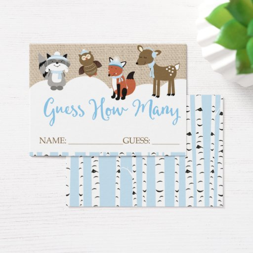 Winter Woodland Animals Guess How Many Game Business Card