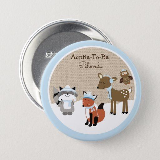 Winter Woodland Animals Name Tag Button