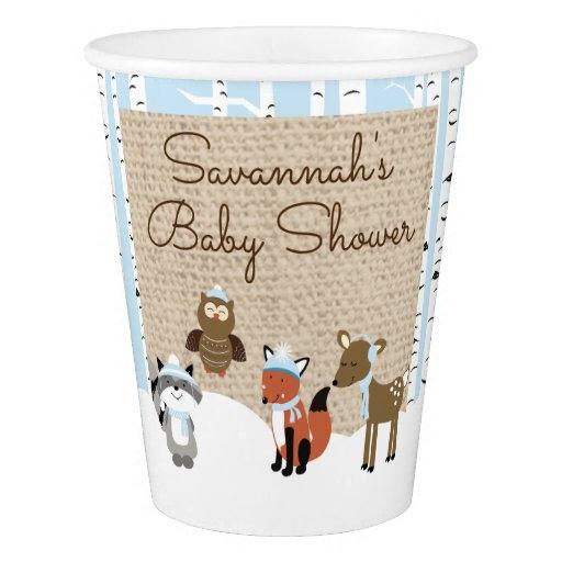 Winter Woodland Animals Paper Cup | Blue