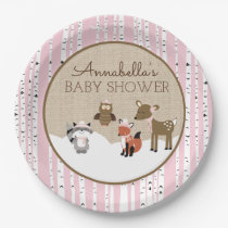 Winter Woodland Animals Plate | Pink
