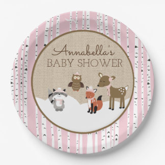Winter Woodland Animals Plate | Pink